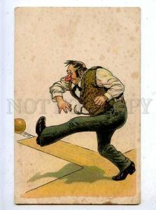 185646 Sport BOWLING Drunk Man Vintage COMIC postcard