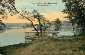 Kalamazoo Michigan~Covered Canoe Docking Station on Lake in Oakwood Park 1912