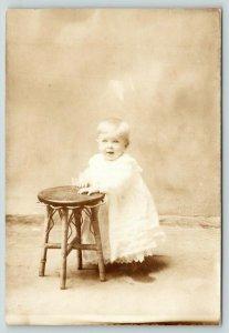 RPPC Pre-Toddler Ella Gunn Leaning On A Stool~She Has A Bright Smile~RPPC c1908