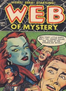 Web Of Mystery 1950s Comic Book Witch Strangling Hair Postcard