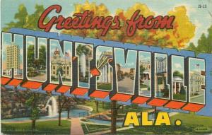 Anderson Huntsville Alabama Large Letters multi View 1956 Postcard linen 4381