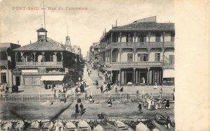 Vintage Egypt Postcard, Rue du Commerce, Port Said DM0