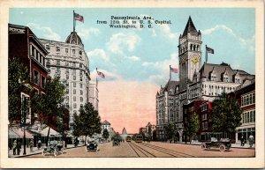 Vtg 1920s Pennsylvania Avenue 12th Street to US Capitol Washington DC Postcard