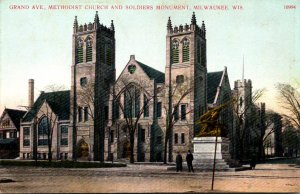 Wisconsin Milwaukee Grand Avenue Methodist Church and Soldiers Monument