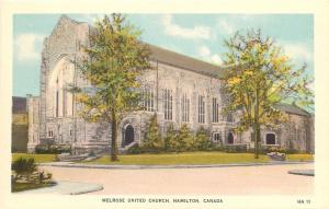 Hamilton Ontario~Melrose United Church~1940s Postcard