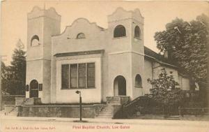 C-1910 First Baptist Church LOS GATOS CALIFORNIA Crall postcard 4647