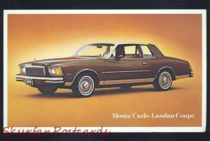 1977 CHEVROLET MONTE CARLO LANDAU COUPE CAR DEALER ADVERTISING POSTCARD