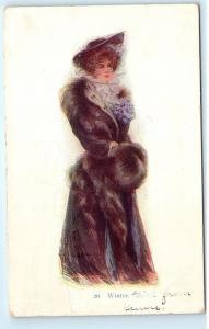 1907 BEAUTIFUL FASHIONABLE GLAMOROUS WINTER GIRL Kansas Vintage Postcard A66