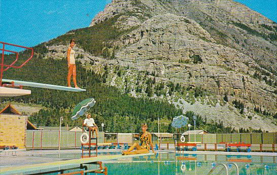 Canada Waterton Lakes Swimming Pool and Mount Crandell Alberta