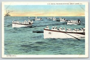 Great Lakes Illinois~US Naval Training Station~Cutter Drill~1920s Postcard