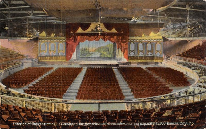 Kansas City Missouri~Convention Hall Interior~Theatrical Seating~Stage~1911 PC