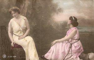 Two elegants ladies. Contemplation Nice old vintage postcard