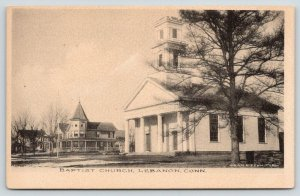 Lebanon Connecticut~Baptist Church~Neighborhood Homes~1905 Albertype Postcard