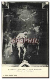 Troyes Old Postcard Church of St. John The baptism of Jesus Christ painting b...