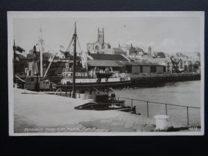 Cornwall PENZANCE Dock & St. Mary's Church c1940's RP Postcard by R.A. Postcards
