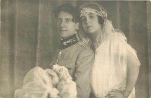 Romania Magura military groom bride wedding 1922 photo postcard