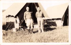 U.S. ARMY OFFICER & SOLDIER AT CAMP-MILITARY REAL PHOTO POSTCARD 1920s