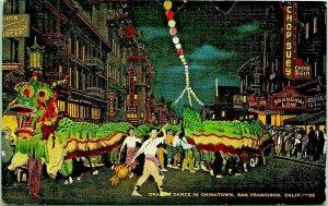 Dragon Danza IN Chinatown San Francisco California Ca Kropp Lino Cartolina Unp