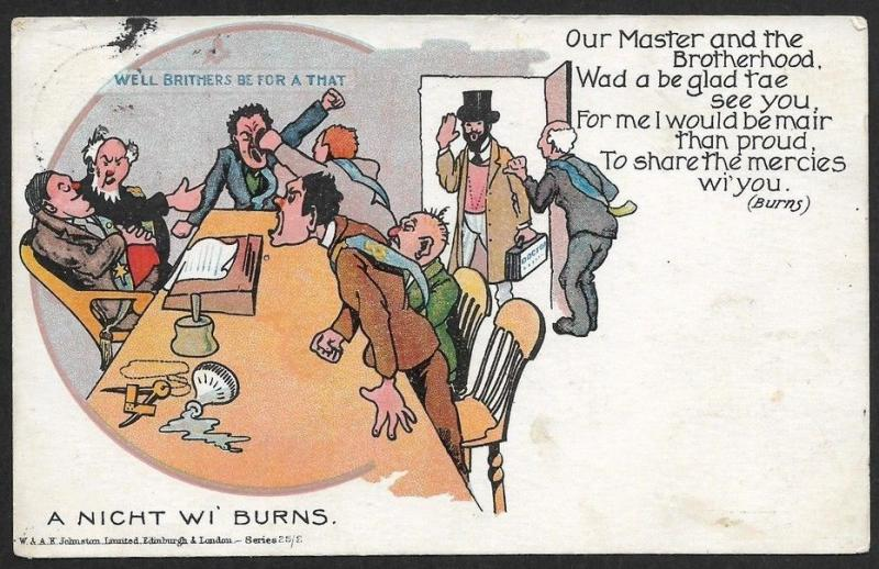 MASONRY : A Night We Burns postcard used GB Great Britain 1905
