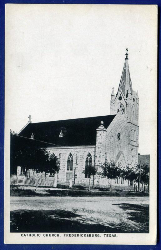 St. Mary's Catholic Church Fredericksburg Texas tx old postcard #1