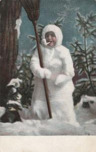 Snowman Greetings - Snowman Custume with Broom and Pipe - UDB