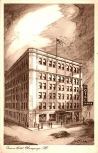 Illinois Champaign Inman Hotel 1956