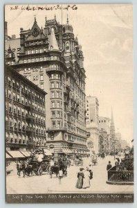 New York City~Fifth Avenue~Waldorf Astoria Hotel~Bartens & Rice Co~c1910 SD&T