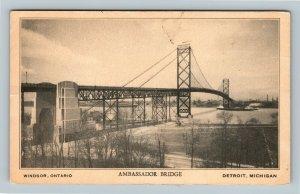 Detroit MI, Ambassador Bridge To Canada, Vintage Michigan Postcard