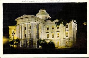 North Carolina Raleigh State Capitol Building At Night