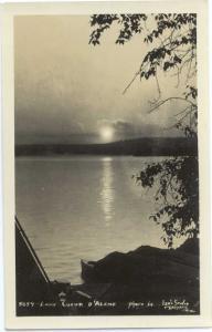 RPPC of a Sunset ot Sunrise at Lake Coeur D'Alene, Idaho, ID