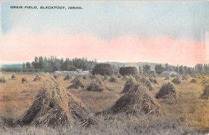 Blackfoot Idaho Grain Field Farm Scene Antique Postcard KK1870