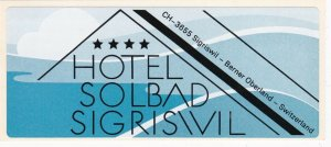 Switzerland Sigris Vil Hotel Solbad Vintage Luggage Label sk4241
