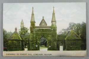 Entrance To Forest Hill Cemetery, Boston MA UDB Postcard - Ivy Covered (#7944)