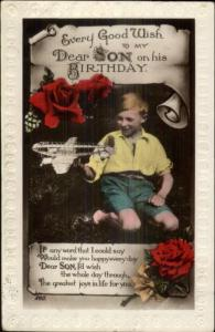 Little Boy w/ Toy Airplane - Birthday to Son Tinted Real Photo Postcard