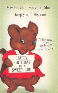 Happy Birthday To A Sweet Girl 1940s Sunshine Line Postcard Squirrel Religious