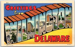 WILMINGTON Delaware Large Letter Postcard Colorful Curteich Linen c1940s Unused