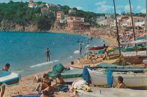 Sunbathing at Llafranch Fishing Boat Ship Boats Welsh Postcard