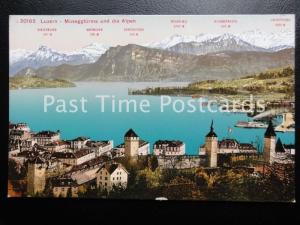 Old PC - Luzern - Museggturme und die Alpen (Alpen Mountain Map)