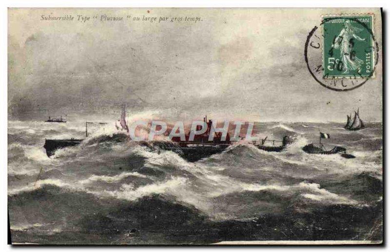 Postcard Old Boat Submarine Submarine Pluviose heavy weather