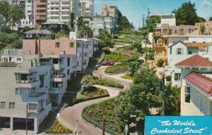 Lombard Street The World's Crookedest Street San Francisco California 1959