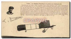 Old Postcard Paulhan biplane in flight