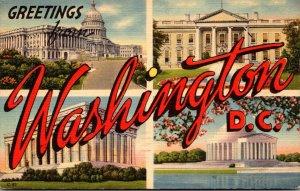 Washington D C Greetings Large Letter Linen 1954