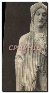 Postcard Old Archaic female statue Athens
