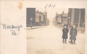 Pittsburgh PA 2 Pretty Little Girls on Snowy Street~Winter Coats RPPC 1911
