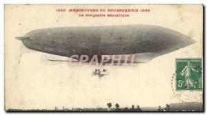 Postcard Old Airship Zeppelin Airship 1909 Maneuvers Bourbonnais Republic