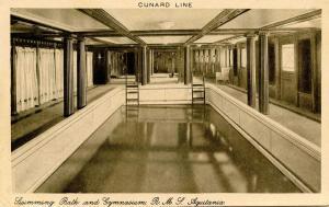 Cunard Line - RMS Aquitania. Swimming Bath and Gymnasium