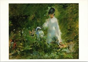 Edouard Manet 'Young Woman Among Flowers' UNUSED Art Postcard D91