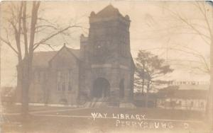 D26/ Perrysburg Ohio Real Photo RPPC Postcard 1911 Way Library Building