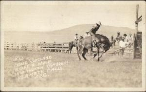 Klamath Falls OR Cowboy Rodeo Jessie Copeland Real Photo Postcard 1929