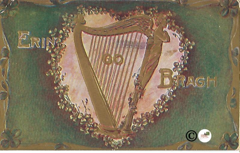 Vintage Postcard Greetings from Ireland Saint Patrick's Day Shamrocks